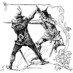 Melee from vintage edition of A Connecticut Yankee in King Arthur's Court