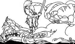 Vintage illustration of a dragonslayer