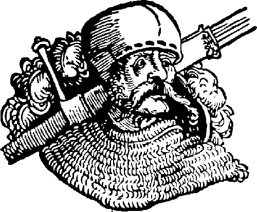 Historic woodcut of a knight